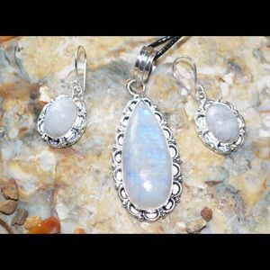Faceted Moonstone Pendant & Earrings Set